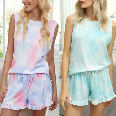 Women Tie Dye Print Summer Pajamas Nightwear Sleepwear Loungewear Tops Short Set