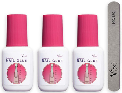 3 x 15g By Vixi EXTRA STRONG NAIL GLUE with BRUSH and FREE PREP FILE Clear Dry