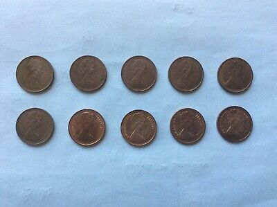 GB Collection of 10 QEII 1/2p Coins, between 1971 & 1983 some original Lustre
