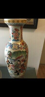 Large Chinese Porcelain Vase with Colorful Reserves real gold leaf trimming.