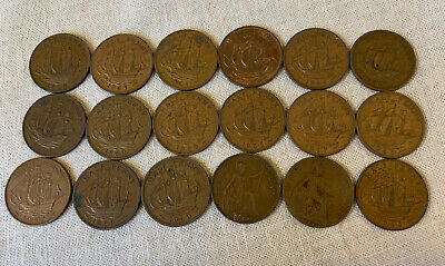 18 English Half Penny Key Dates Multi Year Elizabeth & King George VI Unsearched
