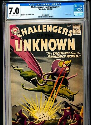 CHALLENGERS OF THE UNKNOWN 11 CGC 7.0 OWW pgs DC 1959 Greytone cover