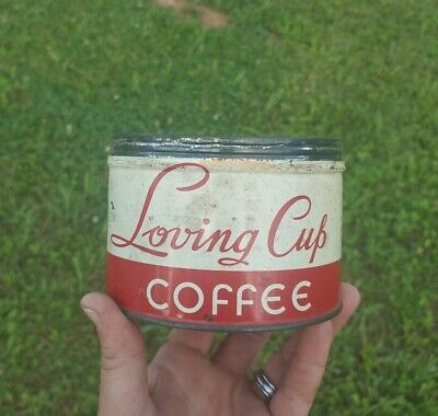 Vintage 1968 Loving Cup Coffee Tin Can Richheimer Coffee Co. Chicago Illinois IL