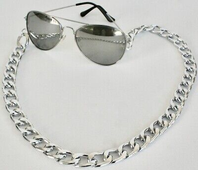CHUNKY oversized SUNGLASSES Curb CHAIN silver effect metal 15mm Spectacles