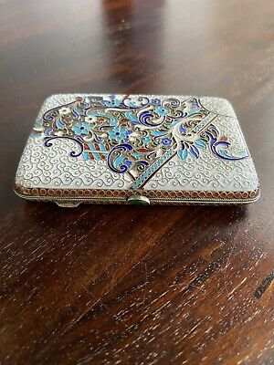 Antique Imperial Russian 84 Silver Enameled Cigarette Case