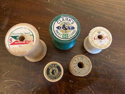 Set Of 5 Authentic Vintage Wooden Thread Spools! Various Sizes And Colors!