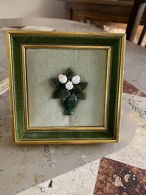 Beautiful Vintage Jade Flower Picture With Frame.