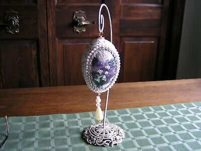 VINTAGE Lilies Flowers Beads Goose Egg DIORAMA Hanging Ornament & Silver Stand