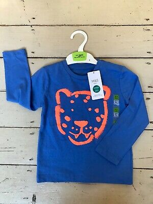 Marks and Spencer Boys Blue Orange Tiger T Shirt Top 2-3 years