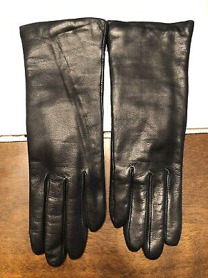 Excellent Womens Size 7 Fownes  Black Leather W/ Cashmere Lining Gloves