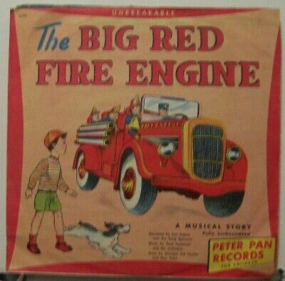 """THE BIG RED FIRE ENGINE - CUTE 1949 10"""" 78rpm VINYL RECORD"""