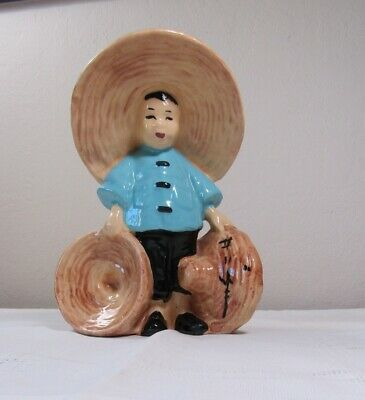 Vintage Mccarty Bros. Asian Boy Figurine Planter Vase California Pottery 6-3/4""