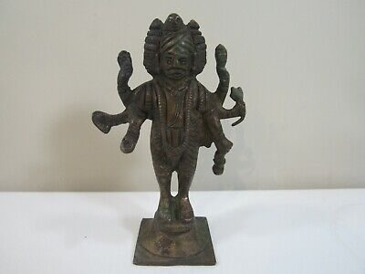 "Bronze 4""h Chinese God Mahakala Buddhism Figure with 6 Arms"