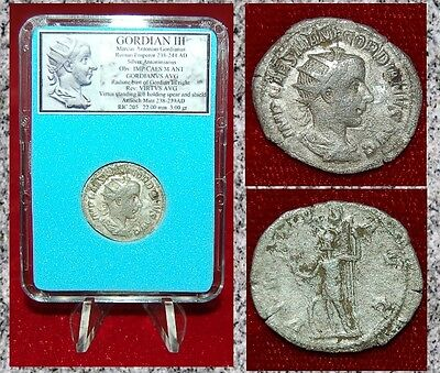 ANCIENT ROMAN COIN GORDIAN III Virtus on Reverse Silver Antoninianus