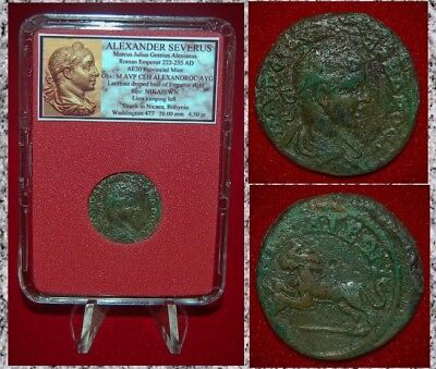 Ancient Roman Empire Coin Of ALEXANDER SEVERUS Jumping Lion Reverse RARE COIN!