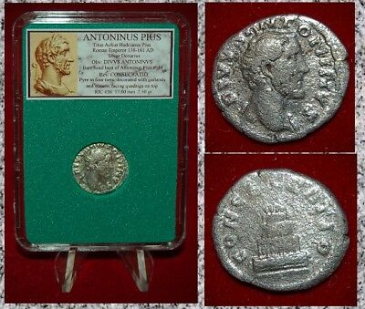 Roman Empire Coin ANTONINUS PIUS Pyre With Quadriga On Reverse Silver Denarius