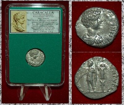 Ancient Roman Empire Coin CARACALLA Emperor With Trophy Silver Denarius