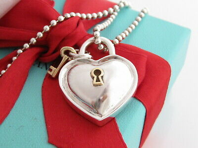 """Auth Tiffany & Co Silver 18K Gold Key Heart Charm Pendant Necklace 34"""""""