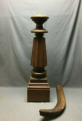 Antique Decorative Turned Walnut Newel Post Fluted 9x43 Vtg Staircase 0216-20B