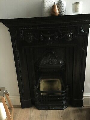 cast iron fireplace, victorian, antique