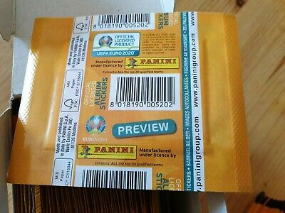 Panini - EURO 2020 UEFA Preview - Stickers - 1 Tüte pochette Belgium version