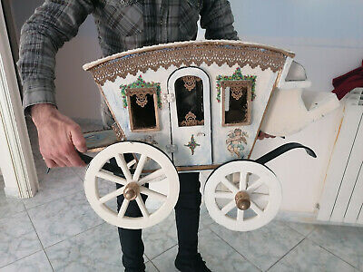 Vintage hand-painted real wooden carriage, restored