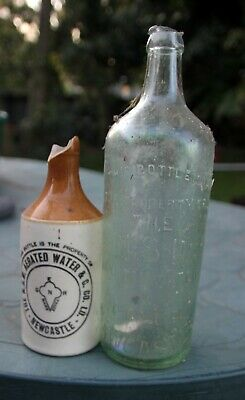 Damaged  NSW Aerated Aerated Water 26 oz crown seal and stoneGinger Beer bottles