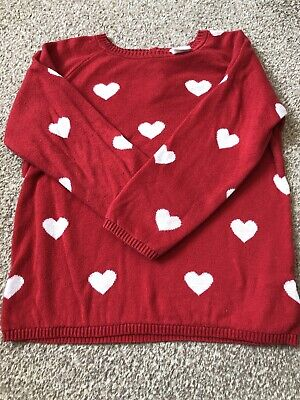 Baby Girl Red Heart Jumper H&M Age 18-24 Months