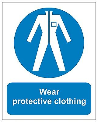 WEAR PROTECTIVE CLOTHING MANDATORY SIGNS 200X250MM SELF ADHESIVE CORONA 19