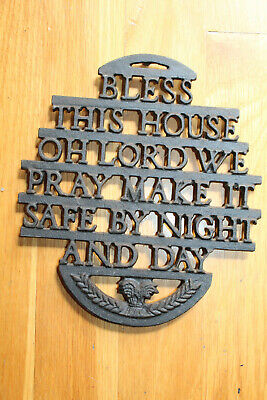 """Antique Cast Iron Hot Plate """"Bless This House Oh Lord We Pray"""""""