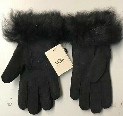 NWT UGG Australia Classic Toscana Long Cuff Black Suede Gloves Size M $135