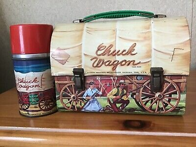 Vintage Chuck Wagon Lunchbox And Thermos