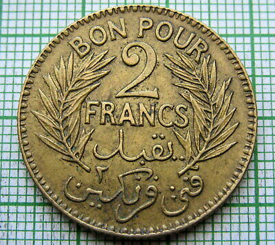 Tunisia 1921 - Ah 1340 2 Francs, Chamber Of Commerce Coinage, High Grade