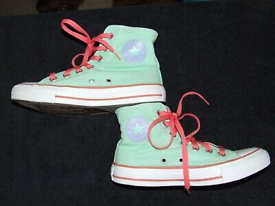 Girls Womens Converse all star mint green shoes Uk size 4 Ex Condition