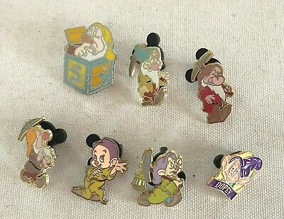 Lot of 7 Walt Disney Trading Pins - Seven Dwarf Pins (Snow White)