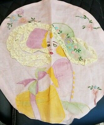 Antique needlepoint pink organdy round pillow cover lady flower lace sunbonnet