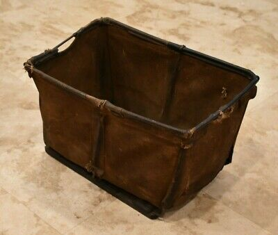 Early 25 Inch Leather and Canvas Trade Bin-Post Office-Mercantile-Railroad