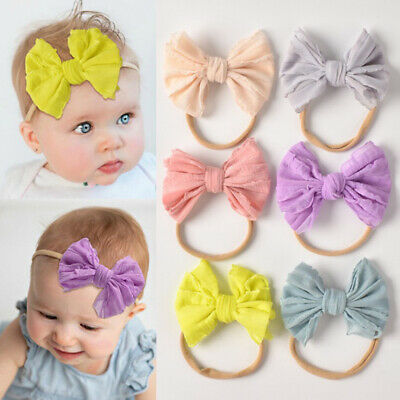 Baby Headband Bowknot Lace Cute Girls Turban Children Elastic Hairband Newborn