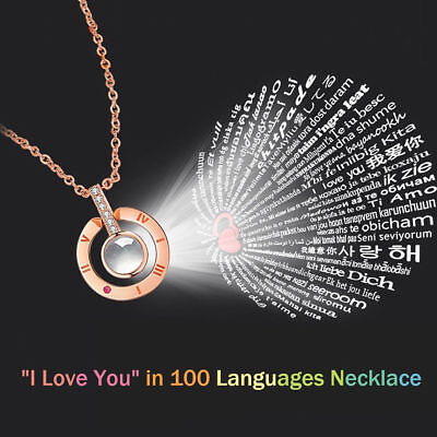 100 Languages Light Projection I LOVE YOU Pendant Necklace Lover Valentine's Day