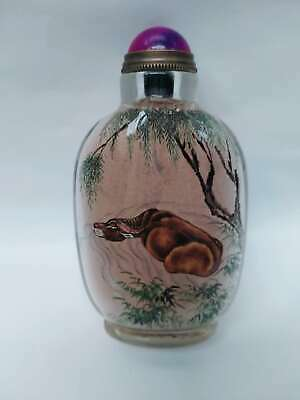Excellent Chinese cattle Inside Hand Painted Glass Snuff Bottle