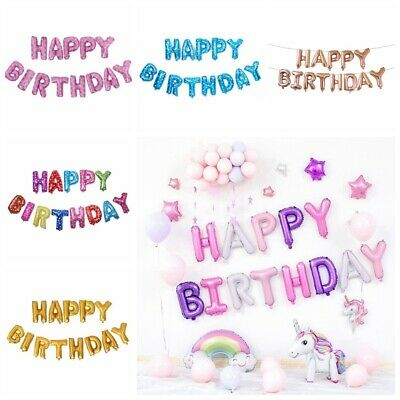 Letter Happy Birthday Banner Self Inflating Foil Balloon Bunting Kid Party Decor