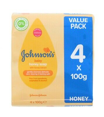 8 x Johnsons Baby Honey Soap Bars 100g Each Free From Parabens Sulphates Alcohol