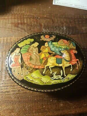 Russian hand painted signed box on back. One of a kind