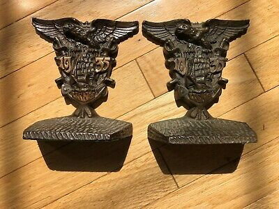 Vintage Class of 1935 U.S. Naval Academy Bookends USNA Annapolis Navy WWII MD