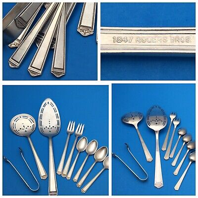 1847 ROGERS ANNIVERSARY SILVER PLATE: Pie, Tomato Server, Cocktail Forks, Tongs