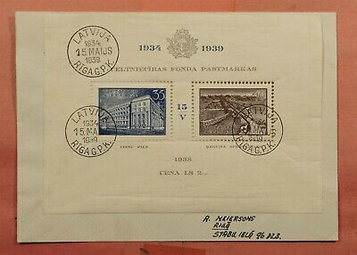 1939 Latvia S/S On Cover # B97 Riga Cancel