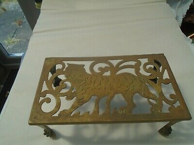 Unusual antique brass Tiger trivet stand with awesome claw feet  NICE STAND