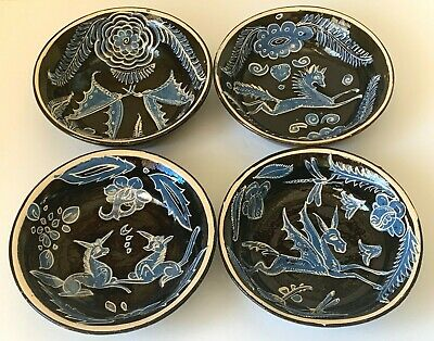 Vintage Mexican Tlaquepaque Fantasia Pottery Bowls Set of 4