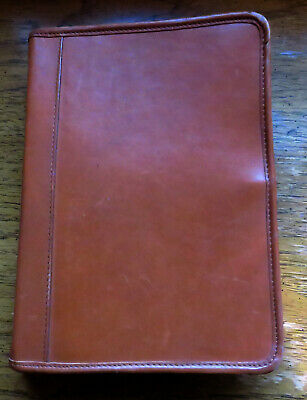Classic Ring Caramel Brown Leather zipper Planner Binder
