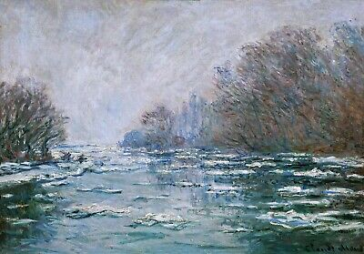 Ice Floes, Vetheuil Painting by Claude Monet Reproduction